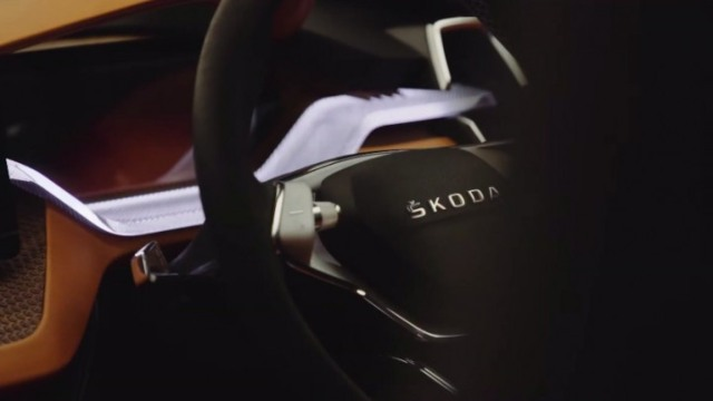 2021 Skoda Vision IN steering wheel